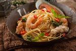 Spaghetti z krewetkami na winie