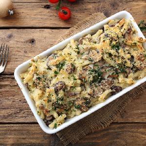 Rurki zapiekane z grzybową potrawką - znakomite danie obiadowe